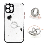 Colored Drawing Starry Sky Epoxy TPU Shockproof Case with Ring Holder For iPhone 12 Pro(Heart)