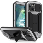 R-JUST Sliding Camera Shockproof Waterproof Dust-proof Metal + Silicone Protective Case with Holder For iPhone 13(Silver)