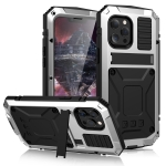 R-JUST Shockproof Waterproof Dust-proof Metal + Silicone Protective Case with Holder For iPhone 13 Pro Max(Silver)