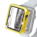 Electroplating PC Double Rows Diamond Protective Case with Tempered Glass Film For Apple Watch Series 3 & 2 & 1 42mm(Gold)