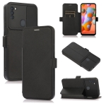 Push Window Double Buckle PU + Silicone Horizontal Flip Leather Case with Holder & Card Slot For Samsung Galaxy A11(Black)