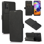 Push Window Double Buckle PU + Silicone Horizontal Flip Leather Case with Holder & Card Slot For Samsung Galaxy A31(Black)