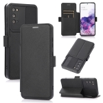 Push Window Double Buckle PU + Silicone Horizontal Flip Leather Case with Holder & Card Slot For Samsung Galaxy S20 5G(Black)