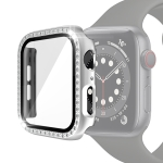 Electroplating PC Single Row Diamond Protective Case with Tempered Glass Film For Apple Watch Series 3 & 2 & 1 42mm(Silver)