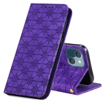 Lucky Flowers Embossing Pattern Magnetic Horizontal Flip Leather Case with Holder & Card Slots For iPhone 13(Purple)