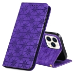 Lucky Flowers Embossing Pattern Magnetic Horizontal Flip Leather Case with Holder & Card Slots For iPhone 13 Pro(Purple)