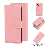 Skin Feel Pure Color Horizontal Flip Leather Case with Holder & Card Slots & Wallet For iPhone 13(Pink)