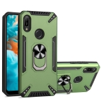 For Huawei Y6 2019 PC + TPU Protective Case with 360 Degrees Rotatable Ring Holder(Dark Green)