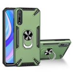 For Huawei Y8p PC + TPU Protective Case with 360 Degrees Rotatable Ring Holder(Dark Green)