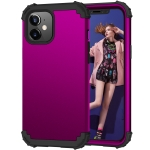 3 in 1 Shockproof PC + Silicone Protective Case For iPhone 12 / 12 Pro(Dark Purple + Black)