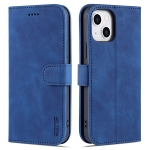 AZNS Skin Feel Calf Texture Horizontal Flip Leather Case with Card Slots & Holder & Wallet For iPhone 13(Blue)