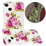 Luminous TPU Soft Protective Case For iPhone 13 mini(Rose Flower)