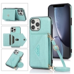 Multi-functional Cross-body Card Bag TPU+PU Back Cover Case with Holder & Card Slot & Wallet For iPhone 13 Pro(Green)