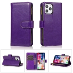 Multifunctional Crazy Horse Texture Horizontal Flip Leather Case with 9 Card Slot & Holder & Zipper Wallet & Lanyard For iPhone 13 Pro Max(Purple)