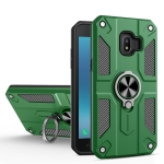 For Samsung Galaxy J2 Core Carbon Fiber Pattern PC + TPU Protective Case with Ring Holder(Green)