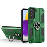 For Samsung Galaxy S21 5G Carbon Fiber Pattern PC + TPU Protective Case with Ring Holder(Green)