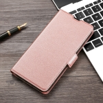 For Samsung Galaxy A22 4G Ultra-thin Voltage Side Buckle PU + TPU Horizontal Flip Leather Case with Holder & Card Slot(Rose Gold)