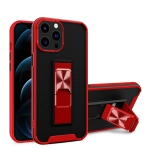 Dual-color Skin Feel TPU + PC Magnetic Shockproof Case with Invisible Holder For iPhone 13 Pro(Red)