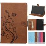 For Samsung Galaxy Tab S6 Lite / P610 Butterfly Flower Embossing Pattern Horizontal Flip Leather Case with Holder & Card Slots & Wallet(Brown)