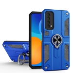 For Huawei Y7a Carbon Fiber Pattern PC + TPU Protective Case with Ring Holder(Dark Blue)