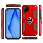 For Huawei nova 6 SE Carbon Fiber Pattern PC + TPU Protective Case with Ring Holder(Dark Blue)