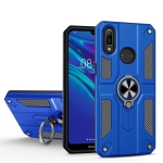 For Huawei Y6 (2019) Carbon Fiber Pattern PC + TPU Protective Case with Ring Holder(Dark Blue)