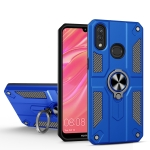 For Huawei Y7 (2019) Carbon Fiber Pattern PC + TPU Protective Case with Ring Holder(Dark Blue)