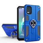 For Motorola Moto G100 / Edge S Carbon Fiber Pattern PC + TPU Protective Case with Ring Holder(Dark Blue)