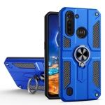 For Motorola Moto G8 Power Lite Carbon Fiber Pattern PC + TPU Protective Case with Ring Holder(Dark Blue)