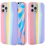 Rainbow Liquid Silicone Shockproof Full Coverage Protective Case For iPhone 13 Pro(Pink)