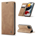 CaseMe-013 Multifunctional Retro Frosted Horizontal Flip Leather Case with Card Slot & Holder & Wallet For iPhone 13 mini(Brown)