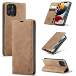 CaseMe-013 Multifunctional Retro Frosted Horizontal Flip Leather Case with Card Slot & Holder & Wallet For iPhone 13 Pro(Brown)