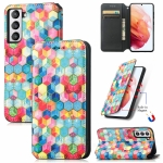For Samsung Galaxy S21 FE Colorful Magnetic Horizontal Flip PU Leather Case with Holder & Card Slot & Wallet(Magic Space)