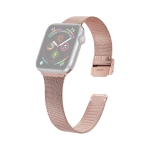 For Apple Watch Series 6 & SE & 5 & 4 44mm / 3 & 2 & 1 42mm Milanese Stainless Steel Watchband(Rose Pink)
