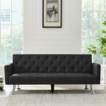 [US Warehouse] Dual-purpose Foldable Living Room Fabric Sofa Bed, Size: 72.83 x 31.5 x 29.92 inch(Black)