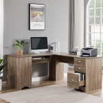 [US Warehouse] L-shaped Office Desk Computer Desk with Storage Shelf, Size: 63.3 x 63.3 x 27.7 inch
