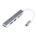 5 in 1 USB-C / Type-C 3.1 to SD / TF Card Slot + 3 USB 3.0 Ports Multifunctional Docking Station HUB (Grey)