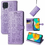 For Gaxlay M32 Cute Cat and Dog Embossed Horizontal Flip Leather Case with Holder & Card Slots & Wallet & Lanyard(Purple)