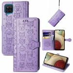 For Galaxy A12 Cute Cat and Dog Embossed Horizontal Flip Leather Case with Holder & Card Slots & Wallet & Lanyard(Purple)