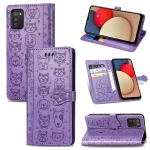 For Galaxy A03S Cute Cat and Dog Embossed Horizontal Flip Leather Case with Holder & Card Slots & Wallet & Lanyard(Purple)