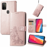 For Ulefone Note 11 Plus Four-leaf Clasp Embossed Buckle Mobile Phone Protection Leather Case with Lanyard & Card Slot & Wallet & Bracket Function(Rose Gold)