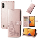 For Wiko Y81 Four-leaf Clasp Embossed Buckle Mobile Phone Protection Leather Case with Lanyard & Card Slot & Wallet & Bracket Function(Rose Gold)