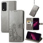 For T-Mobile REVVL V+ 5G Four-leaf Clasp Embossed Buckle Mobile Phone Protection Leather Case with Lanyard & Card Slot & Wallet & Bracket Function(Gray)