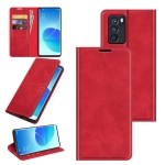 For OPPO Reno6 Pro 5G Retro-skin Business Magnetic Suction Leather Case with Holder & Card Slots & Wallet(Red)