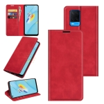 For OPPO A54 4G Retro-skin Business Magnetic Suction Leather Case with Holder & Card Slots & Wallet(Red)