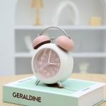 Bedroom Desktop Metal Digital Mechanical Alarm Clock Living Room Silent Clock With Night Light(Pink)