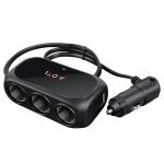 2 PCS Car Charger Cigarette Lighter 1 In 3 Mobile Phone USB Car Charger(Black)
