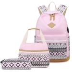 3 PCS/Set 1905-1 Polka Canvas Backpack Student School Bag(Pink)