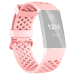 2 PCS 3D Diamond Hollow Type Replacement Silicone Strap For Fitbit Charge4/3 Smart Watch, Colour: Naked Pink S Yards