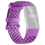 2 PCS 3D Diamond Hollow Type Replacement Silicone Strap For Fitbit Charge4/3 Smart Watch, Colour: Purple S Yards